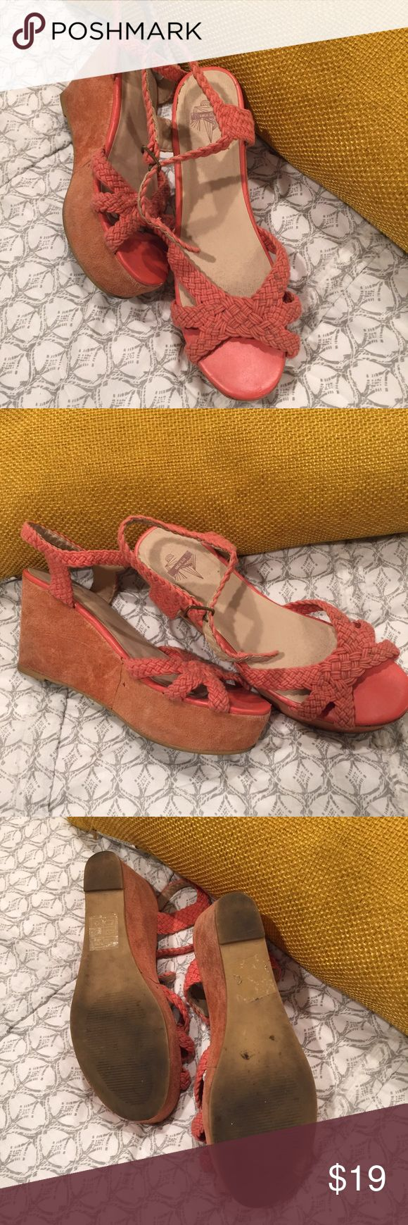 Coral wedges by kimchi blue. Kimchi Blue from UA. Needs a suede brush on the wedge. So cute Urban Outfitters Shoes Sandals