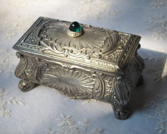 Antique Silver Jewelry Box  Cut Crystal Emerald par gradyladies, $78.00