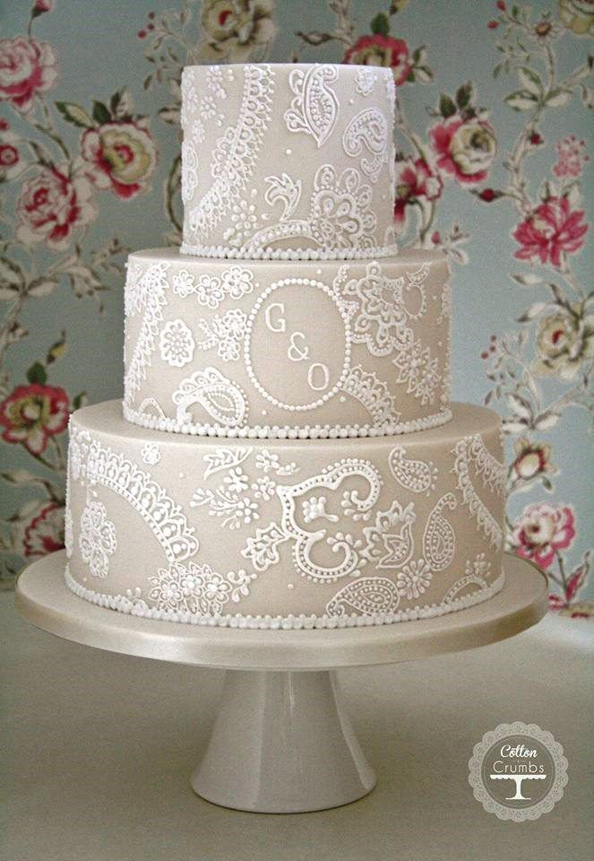 I love that this is on an off white buttercream, which makes the white lace pop, but still gives a white on white feel