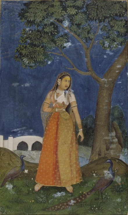 A lady with peacocks at night, Mughal