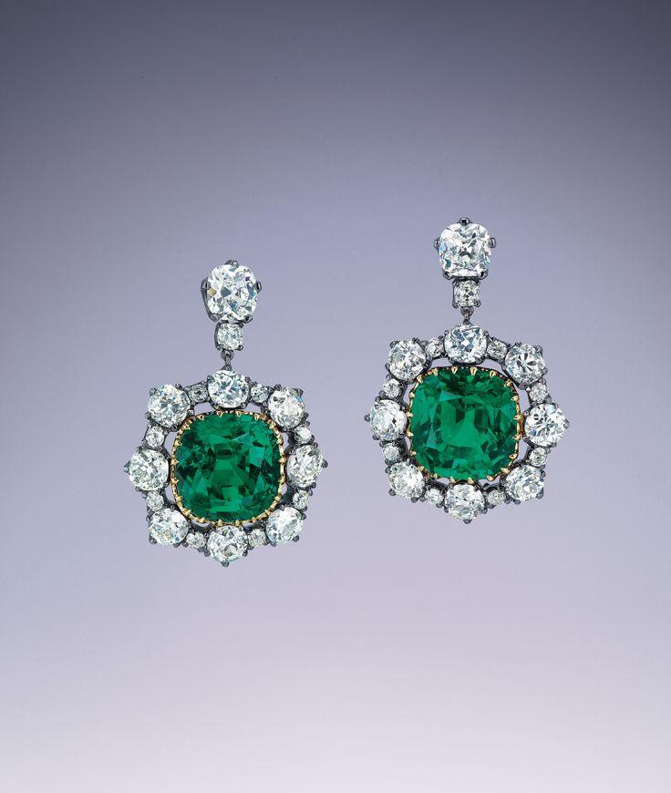 RARE EMERALD AND DIAMOND EARRINGS | earrings, emer…