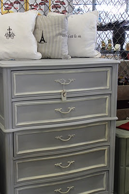 Love this painted dresser....Emma's furniture would be beautiful with this finish.