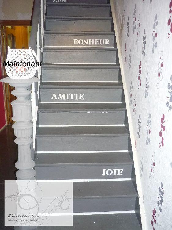 Les 145 meilleures images propos de couloirs palier for Peinture sur escalier bois