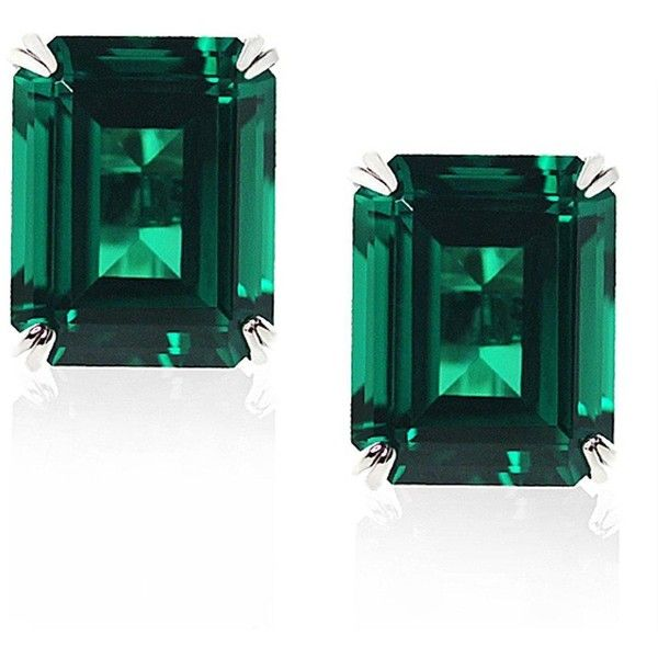 Carat* London 9 Carat White Gold 1.5 Carat Equivalent Double Prong... ($230) ❤ liked on Polyvore featuring jewelry, earrings, emerald green earrings, mirror pendant, white gold jewelry, mirrored jewelry and emerald green pendant
