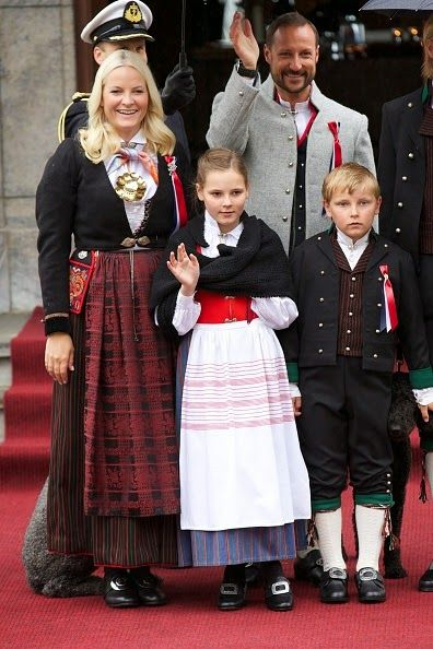 Crown Princess Mette-Marit of Norway, Crown Prince Haakon of Norway, Princess Ingrid Alexandra of Norway and Prince Sverre Magnus of Norway Celebrate National Day In Asker on May 17, 2015 in Oslo, Norway.