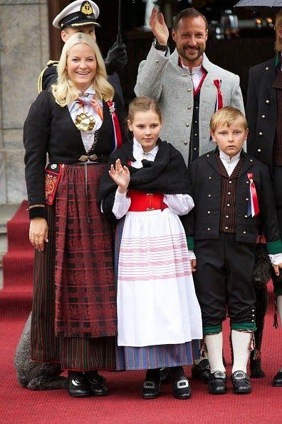 Crown Princess Mette-Marit of Norway, Crown Prince Haakon of Norway, Princess Ingrid Alexandra of Norway and Prince Sverre Magnus of Norway Celebrate National Day In Asker on May 17, 2015 in Oslo, Norway.