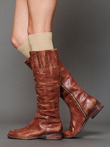 brown leather boots.