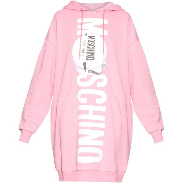 Moschino Printed-logo oversized hooded sweater dress ($681) ❤ liked on Polyvore featuring dresses, sweaters, tops, oversized sweater dress, light pink dress, pink sweater dress, high-low dresses and moschino dress