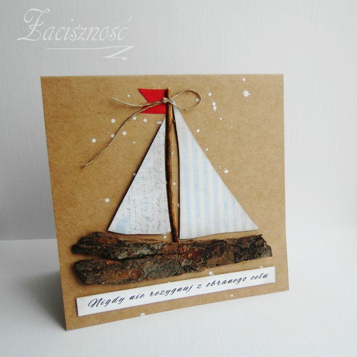 Ręcznie robiona kartka urodzinowa z żaglówką/ Handmade birthday card with a sail boat