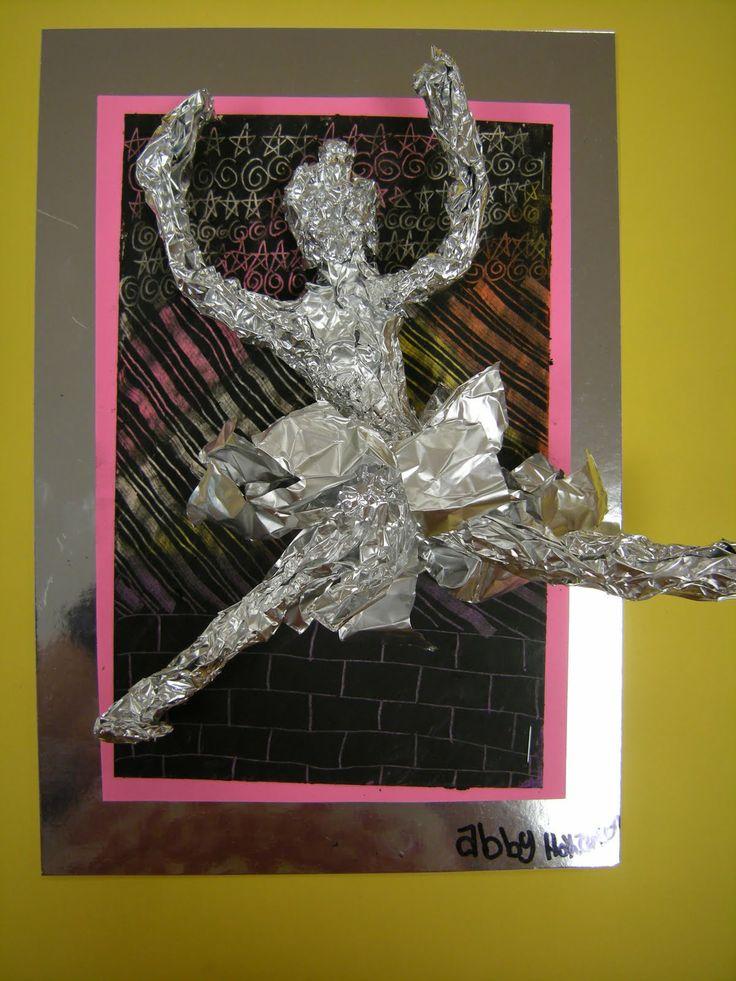 Artolazzi: Degas Movement Figures  oil pastel homemade scratchboard, plus tin foil sculpture