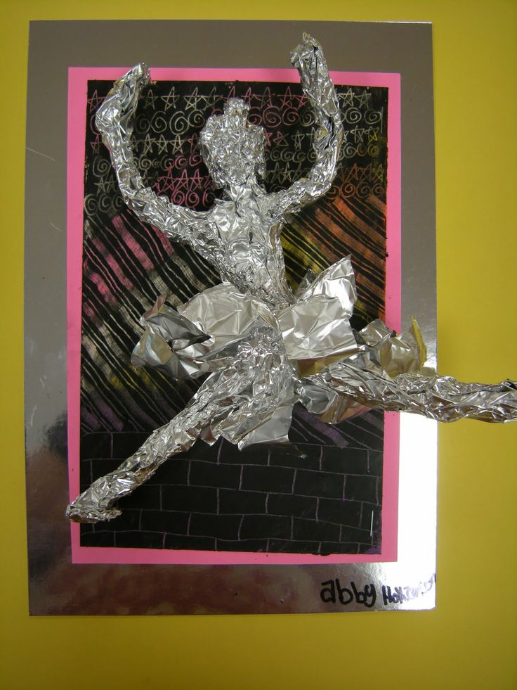 Artolazzi: Degas Movement Figures  oil pastel homemade scratchboard, plus tin foil sculpture