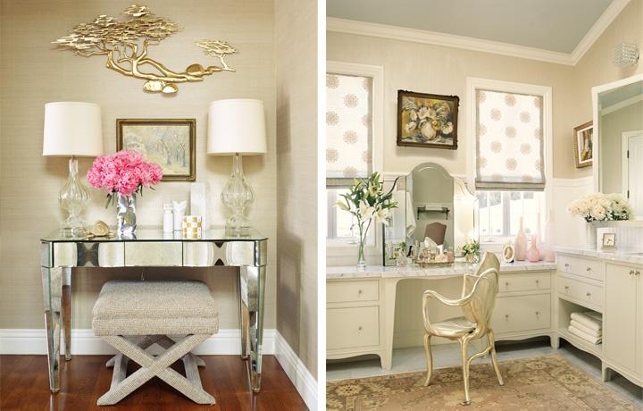 roman shades: Design Projects, Romans Shades, Decorista Daydream, Mirror Furniture, Dresses Tables, Soft Colors, Vanities, Home Interiors Design, Colors Schemes