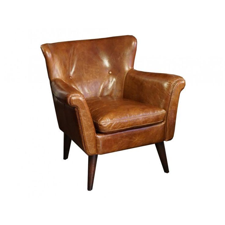 Buckingham fåtölj med den rätta vintage känslan. Läder i Cuba Brown som passar perfekt in i många hem!