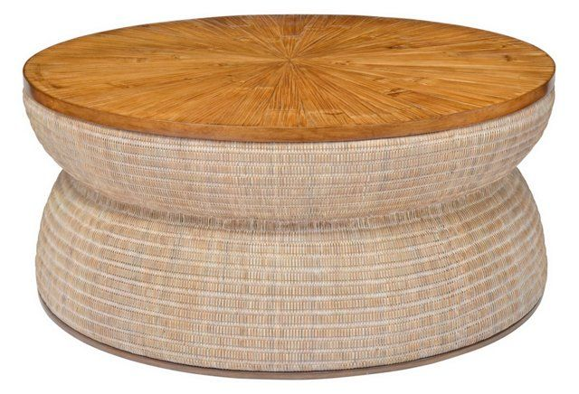 Round Drum Coffee Table, Natural