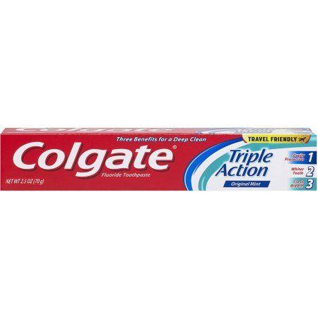 Colgate Triple Action Toothpaste, 2.5 oz, Multicolor