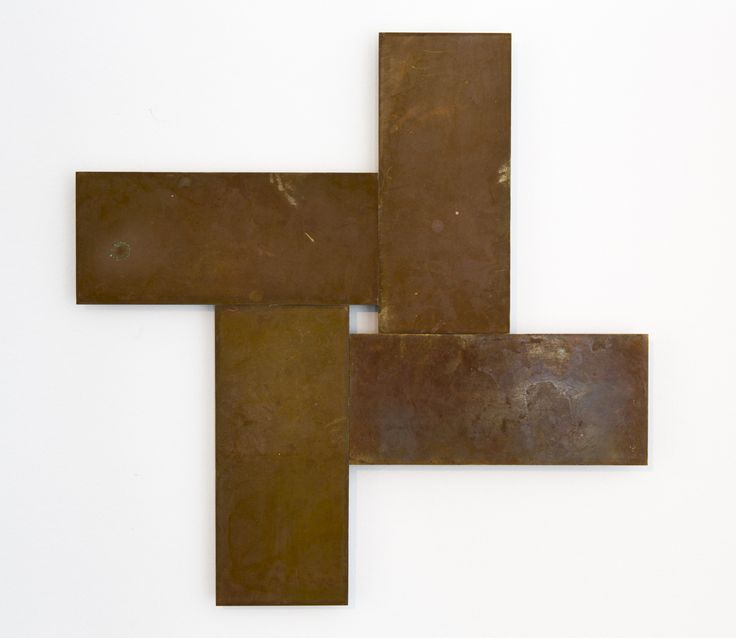 Stephen Bambury, Seven Days (I), 2014, chemical action on four brass plates, 325 x 325 mm