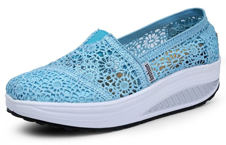 Ausom Women's Crochet Breathable Slip-On Platform Wedges Toning Shoes Walking Fitness Work Out Sneaker * Check this awesome product by going to the link at the image.