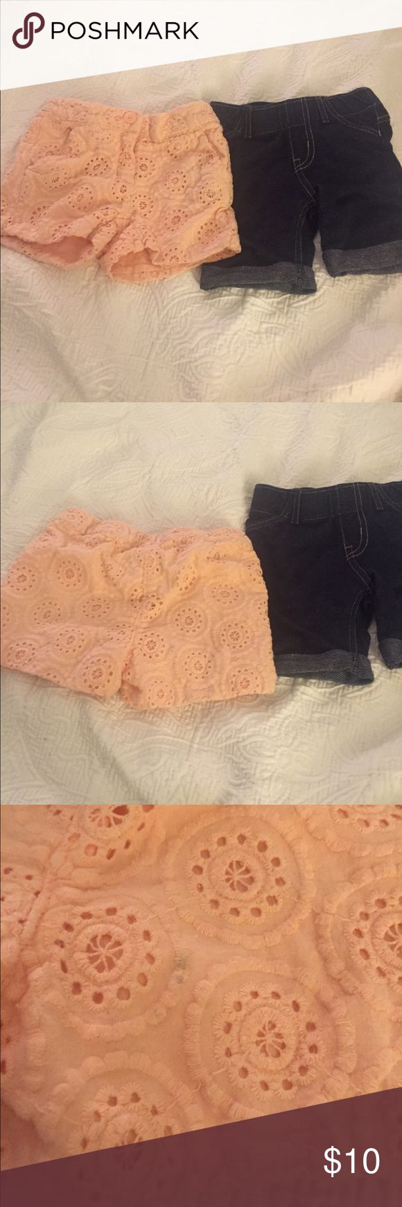 2 pairs of toddler shorts Peach shorts are Janie and Jack. The jean pair is Circo. Jeans are slightly longer shorts. Peach shorts have small stains that are pictured. Janie and Jack Bottoms Shorts