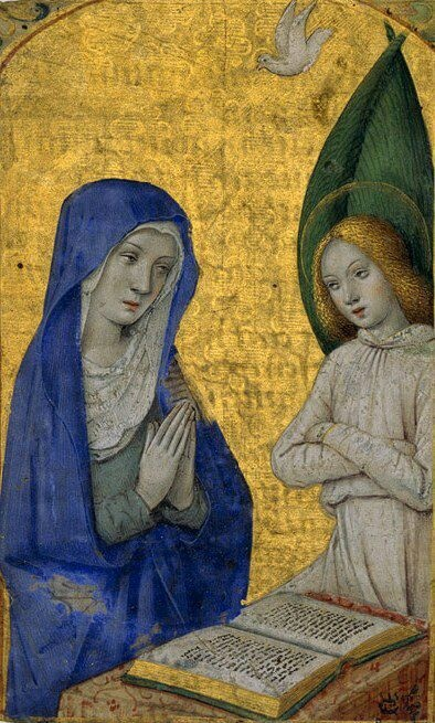 The Annunciation from a Book of Hours, 1485–90. France (Tours). Medieval Imago & Dies Vitae Idade Media e Cotidiano.
