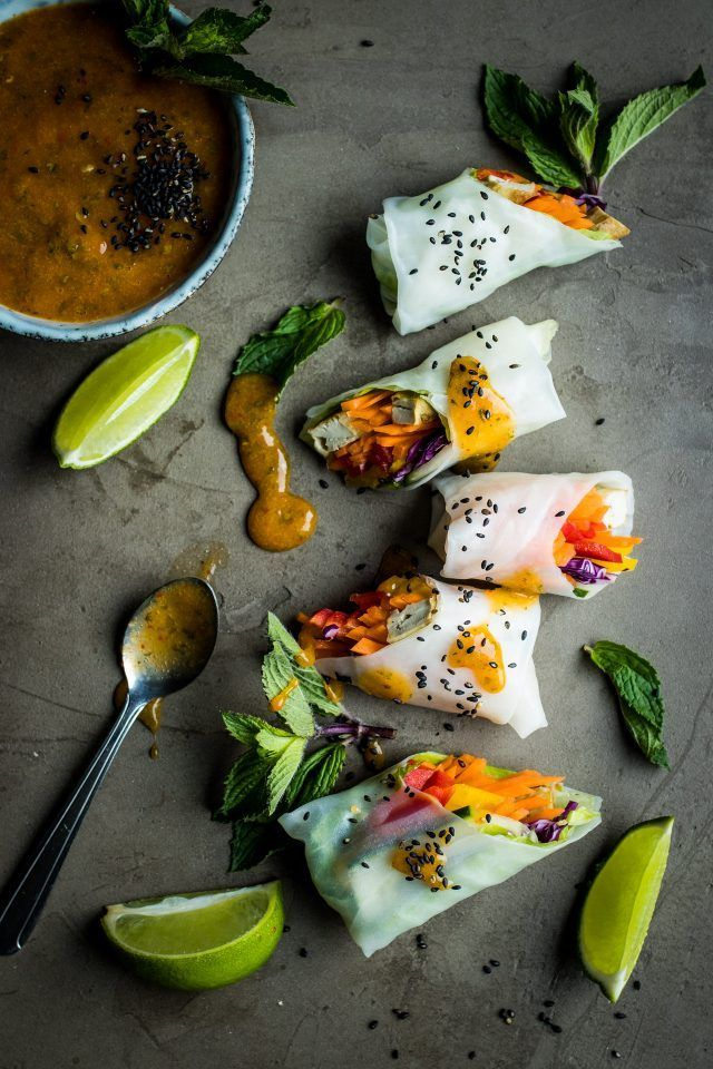 Vegan summer rolls with a fresh mango dipping sauce and a creamy peanut dipping sauce