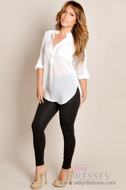 LOVE... White Button Up With Leggings!!   So sexy!