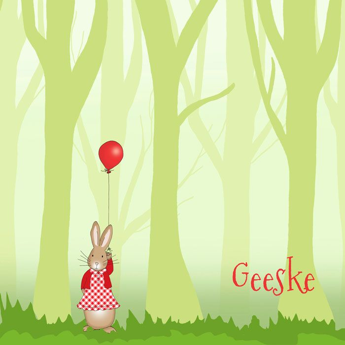 Geboortekaartje illustratie konijn in een bos met ballon.