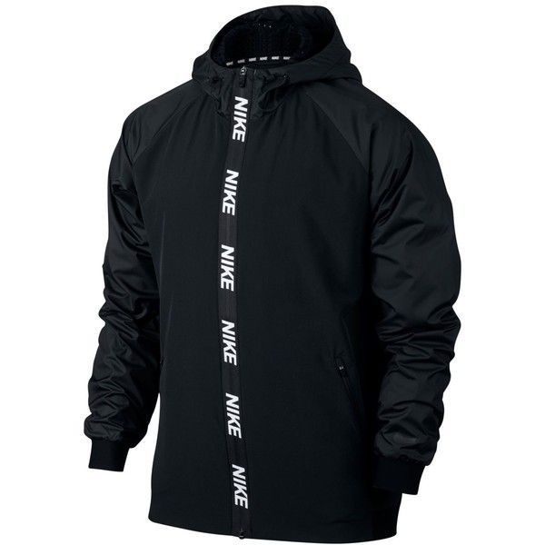Nike Men's Dri-fit Hooded Training Jacket ($90) ❤ liked on Polyvore featuring men's fashion, men's clothing, men's activewear, men's activewear jackets, black and mens activewear