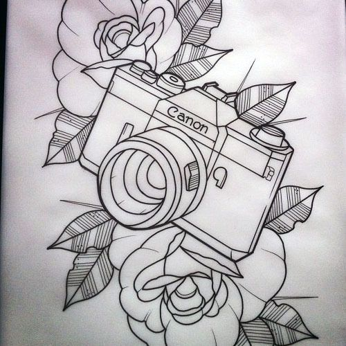 Black Outline Camera With Flowers Tattoo Stencil