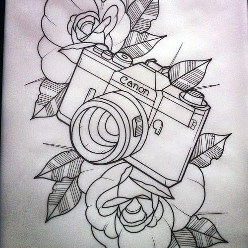 Nikon Camera Tattoo With Flowers photo - 3