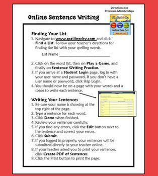write a sentence online