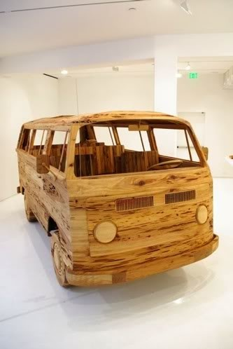 VW Bus made of wood.