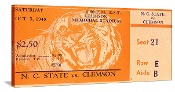 1946 N.C. State vs. Clemson Football Ticket Art. Christmas football gifts! The best Christmas gifts for football fans! When you think football Christmas gifts, think 47 STRAIGHT.™ Our football ticket coasters are printed in the U.S.A. and ship within 24 hours. Made from historic football tickets. Best Christmas football gifts in America! http://www.christmasfootballgifts.com/ Christmas football gifts!