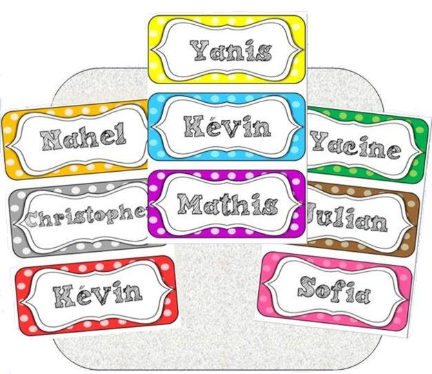 * Etiquettes prénoms des élèves …