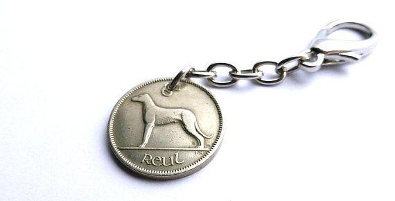Irish charm, Dog charm, 1950, Irish wolfhound, Purse charm, Coin charm, Coin keychain, Irish keychain, Musical charm, Harp, Celtic, Ireland