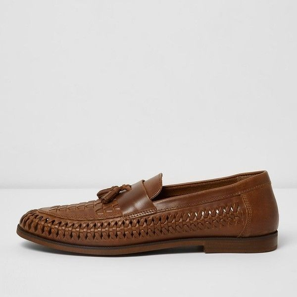 River Island Tan woven leather loafers ($55) ❤ liked on Polyvore featuring men's fashion, men's shoes, men's loafers, brown, shoes, mens woven leather shoes, mens tan shoes, mens loafer shoes, mens woven slip on shoes and mens woven leather slip-on shoes