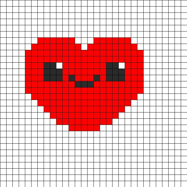 Cute Kawaii Heart Perler Bead Pattern | Bead Sprites | Misc Fuse Bead Patterns
