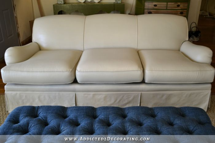 Step by step instructions on how to PAINT a sofa..this was a hideous floral pattern before it was painted.