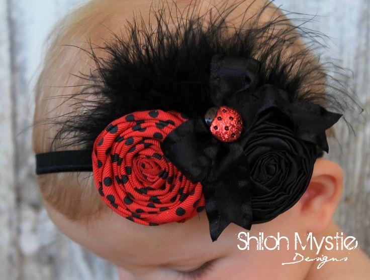 Ladybug Headband-Ladybug Hair Bow-Ladybug Birthday Bows-Ladybug Hair Bows-Ladybug headband-Lady bug Headbands-Ladybug birthday party. $14.25, via Etsy.