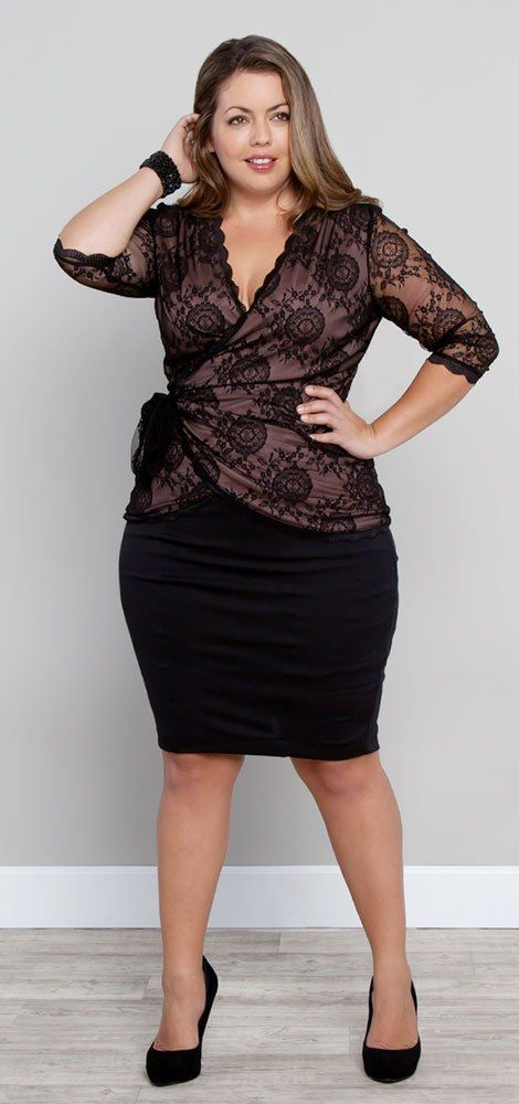 A beautiful pencil skirt and wrap top really show off lovely curves and emphasize a small waist.
