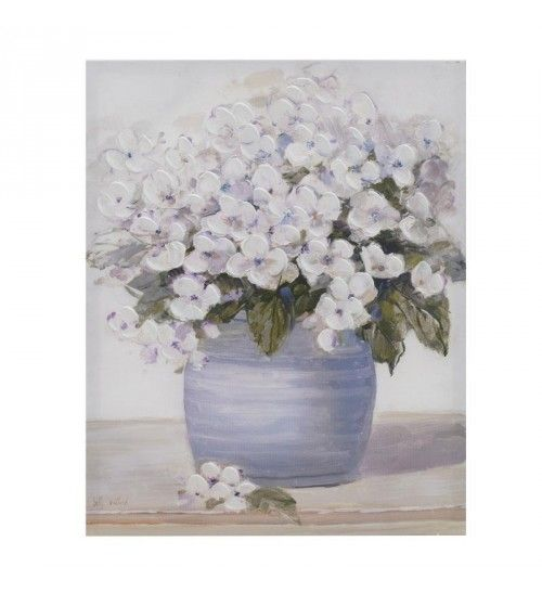 OIL WALL PAINTING CANVAS 'WHITE_BLUE FLOWERS' 41X4X51