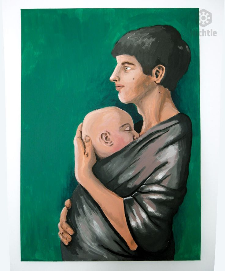 father, dad, baby in wrap, maternity, love. acryl painting