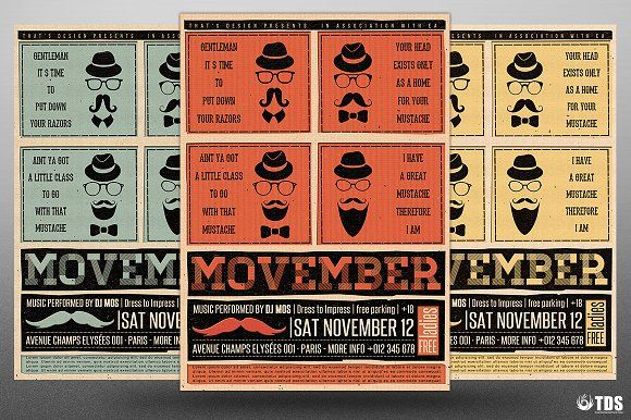 Movember Flyer Template V1 by Thats Design Store on @creativemarket