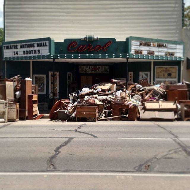 Denham Springs, Louisiana Antique Shops, Range Rd -  Piles of storm debris line…