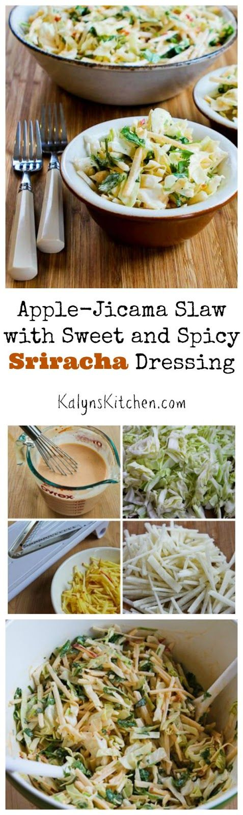 This Apple-Jicama Slaw with Sweet and Spicy Sriracha Dressing is perfect for Fall!  [found on KalynsKitchen.com]