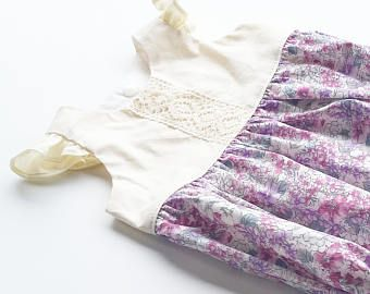 Lace baby romper. Purple floral romper. First birthday
