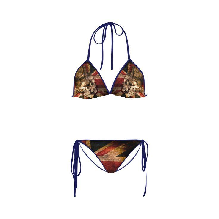 Grunge Skull and British Flag Custom Bikini Swimsuit