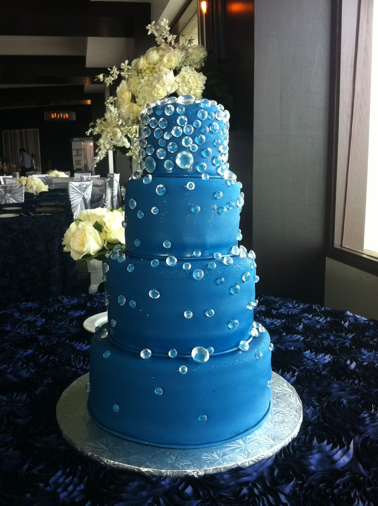 Navy blue, diamond wedding cake
