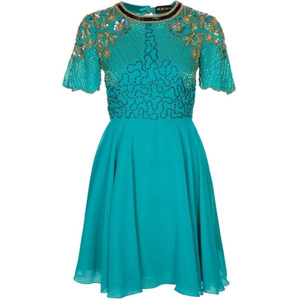 Virgos Lounge ONYX Cocktail dress / Party dress turquise (€83) ❤ liked on Polyvore featuring dresses, turquoise, blue short sleeve dress, evening dresses, short sleeve cocktail dresses, holiday dresses and cocktail dresses