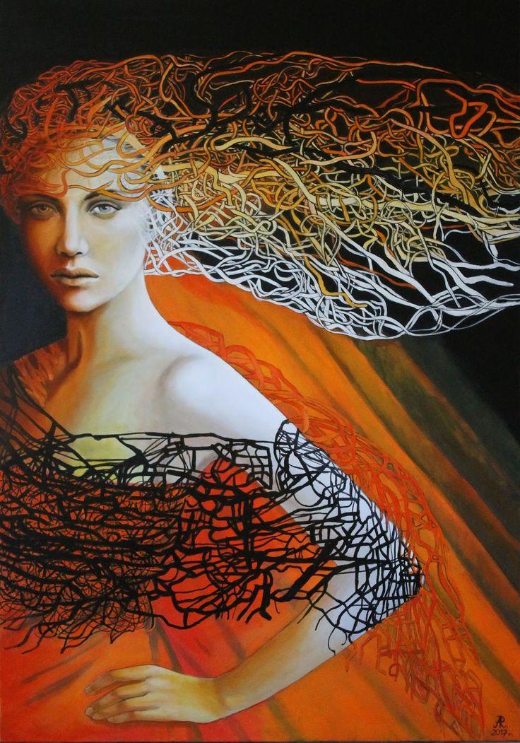 """Anna Rączka ,,The last look """"- olej na płótnie 100 x 70 cm Image"""