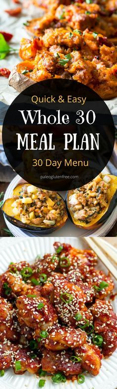 Whole30 meal plan that's quick and healthy! 30 days of whole 30 recipes for breakfast, lunch, and dinner! Plus, a free printable menu. Best whole 30 menu. Whole30 recipes just for you. Whole30 meal planning. Whole30 meal prep. Healthy paleo meals. Healthy Whole30 recipes. Easy Whole30 recipes. Best paleo shopping guide.